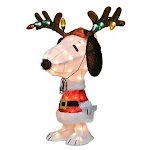 """ProductWorks 26"""" Peanuts 3D LED Snoopy Dressed Up as a Reindeer Pre-Lit Yard Art"""
