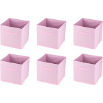 Juvale 6-Pack Light Pink Mini Foldable Storage Cube Bins Closet with Handle for Office(Fabric)