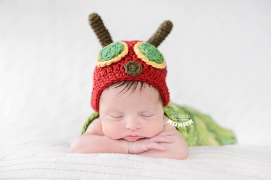 Newborn Very Hungry Caterpillar Hat  by HappyBabyCrochet on Etsy