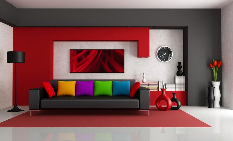 Red Wall Decor Paint Interiors With Dash Of White