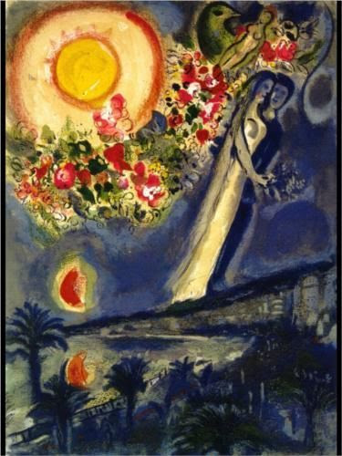 wasbella102:  Lovers in the sky of Nice - Marc Chagall