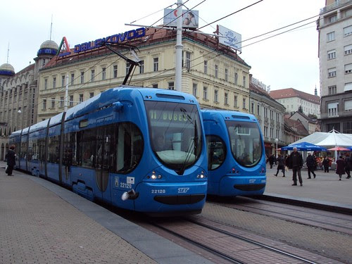 Zagreb's tram public transportation, blue trams
