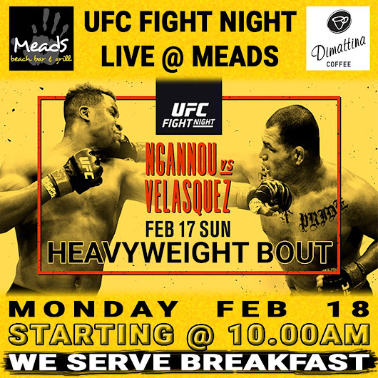 UFC Heavy Weight Ngannou vs Velasquez Live Meads Bali | Meads Beach Bar & Grill