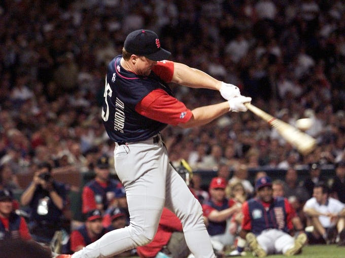 Mark McGwire, Fenway Park, 1999: Following his single-season home run record of 70, McGwire blasted 13 home runs over the Green Monster in the first round — a record at the time. He eventually lost to Ken Griffey Jr., but not after an iconic moment when he nearly broke the light tower in a classic Roy Hobbs moment.
