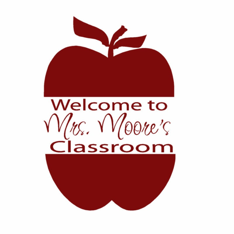 Teachers Gift Personalized Apple Wall Decal for by HouseHoldWords