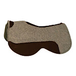 Circle Y Close Contact Wool Felt Saddle Pad 30inch, Grey with Walnut wear leathers