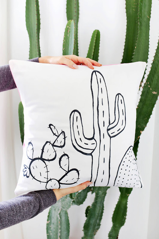 Cactus Outline Pillow DIY - A Beautiful Mess