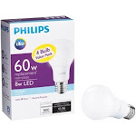 Philips 461137 A-line A19 Led Bulb, Frosted, 8 Watts