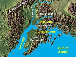The proposed bridge would cross Knik Arm north...