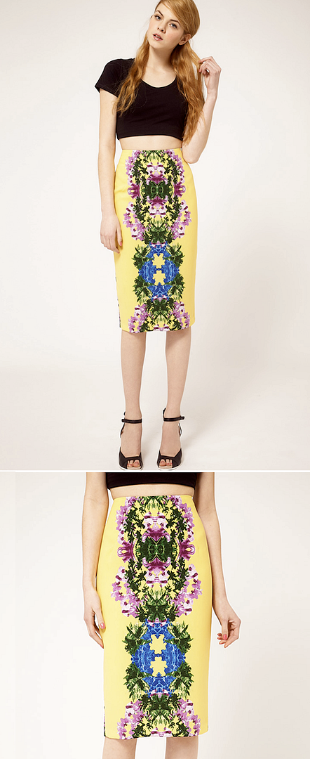ASOS MIRROR FLORAL PRINT MIDI PENCIL SKIRT BARE MIDRIFF TOP ABS BANDEAU  STELLA MCCARTNEY INSPIRED SPRING SUMMER 2012 AFFORDABLE