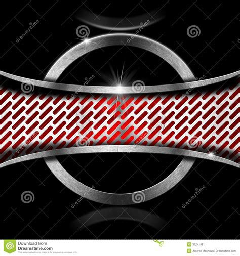 Red And Metal Background With Metal Frame Stock