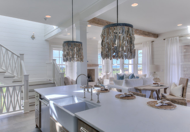 Beach House Kitchen with shell pendants. Beach house kitchen. Beach house kitchen. Beach house kitchen. #Beachhousekitchen 30avibe Photography.