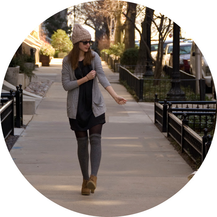 dash dot dotty, ootd, over-the-knee socks, knit tall socks, layered long cardigan, joie black silk dress, old navy cardigan, gray cardigan, knit hat, outfit blog