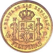 4 Pesos - Isabella II – reverse