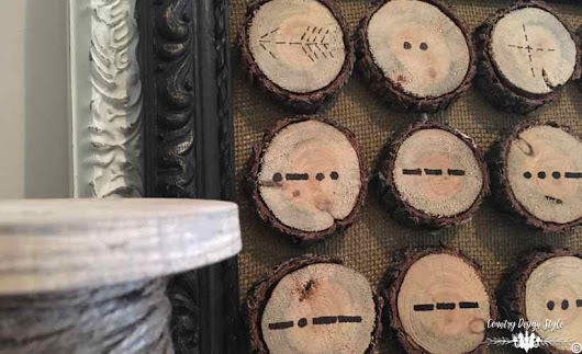 Valentine Morse Code Obsession in Wood Slices - Country Design Style