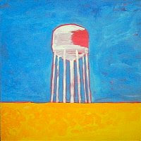 painting in progress of water tower