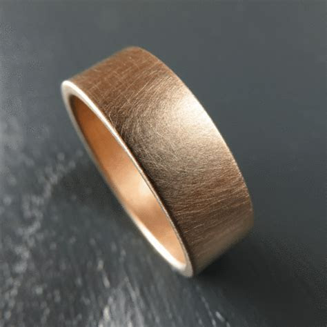 Brushed 7MM Rose Gold Low Profile Wedding Band