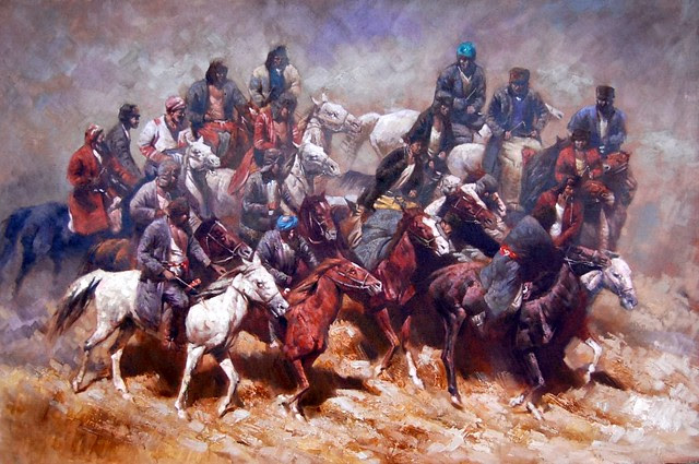 Buzkashi painting by Juri Pak