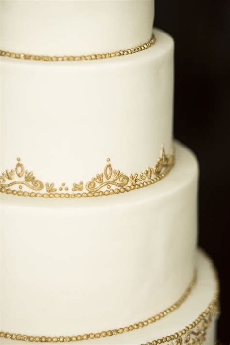 The Cake Flower   Ivory and Gold Wedding Cake. Filigree