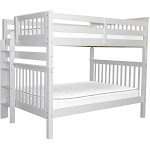 Mission Style Bunk Bed Full over Full with End Ladder, White