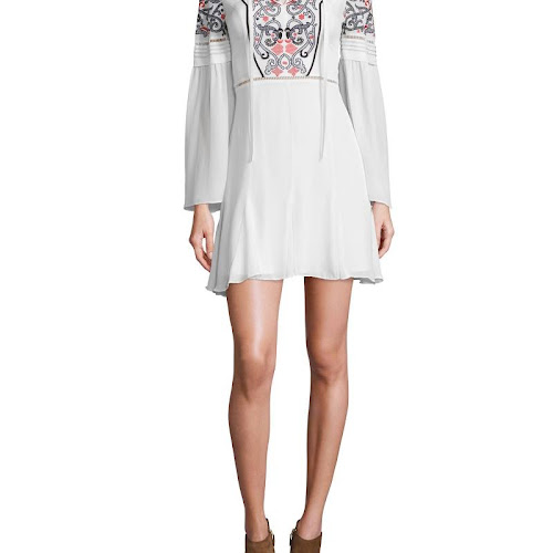 Parker Womens Milly Silk Embroidered Casual Dress Ivory XS