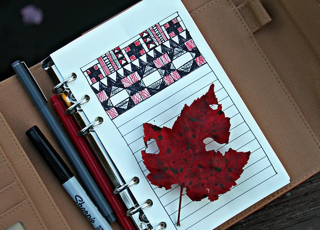 Red, Black, & White Quilt Sketching