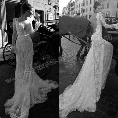 The Mermaid Backless White Lace Long Sleeve Wedding Dress