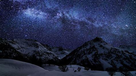 hd hintergrundbilder berge schnee winter himmel sterne
