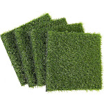 Synthetic Grass - 4-Pack Artificial Lawn, Fake Grass Patch, Pet Turf Garden, Pets, Outdoor Decor- Non-Slip Turf, Green, 12 X 0.25X 12 inches