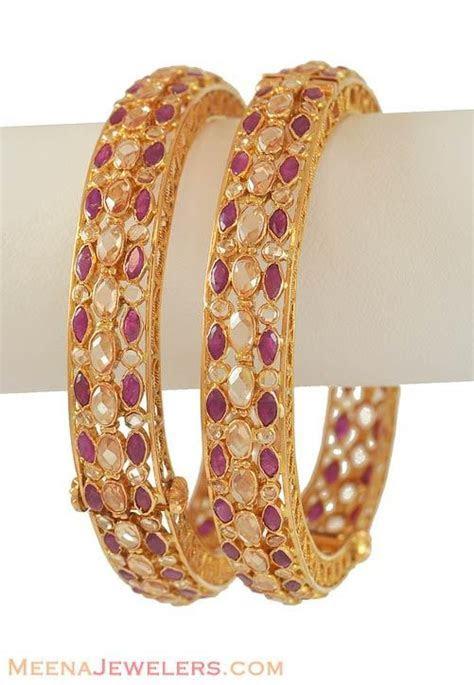 22K Gold Antique Ruby Bangle   BaAn6389   [Bangles