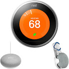 Nest Learning Thermostat GEN3 Stainless Steel, Chalk Google Home Mini & Wall Mount