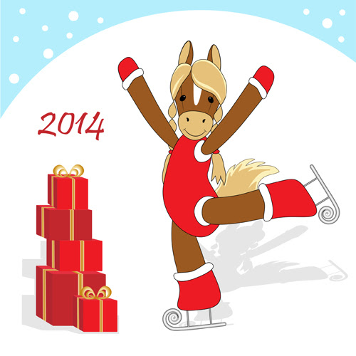 Funny Horses 2014 New Year design vector 04