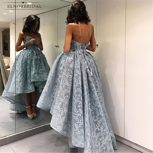 Silver Lace High Low Prom Dresses 2018 Sweetheart Galajurken Women Formal  Evening Gowns Long Party Dress Product ID   32868173976 Price    139.00  Discount ... dd8a0876be04