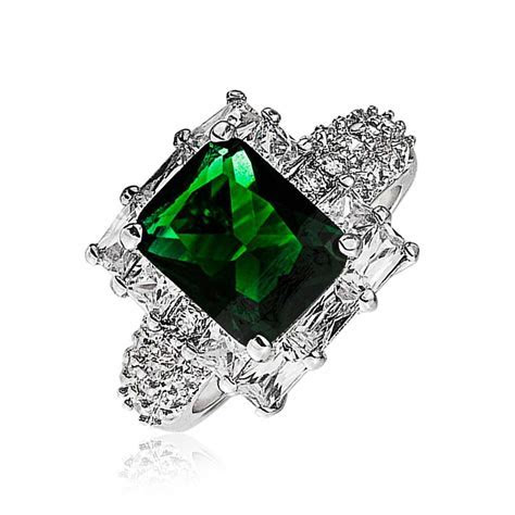 Gatsby Inspired Emerald Color CZ Engagement Ring Art Deco