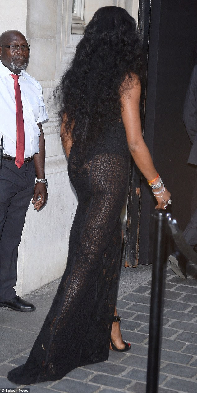 Sassy semi-sheer style: The transparent garment also drew the eye to Naomi's pert and toned bottom