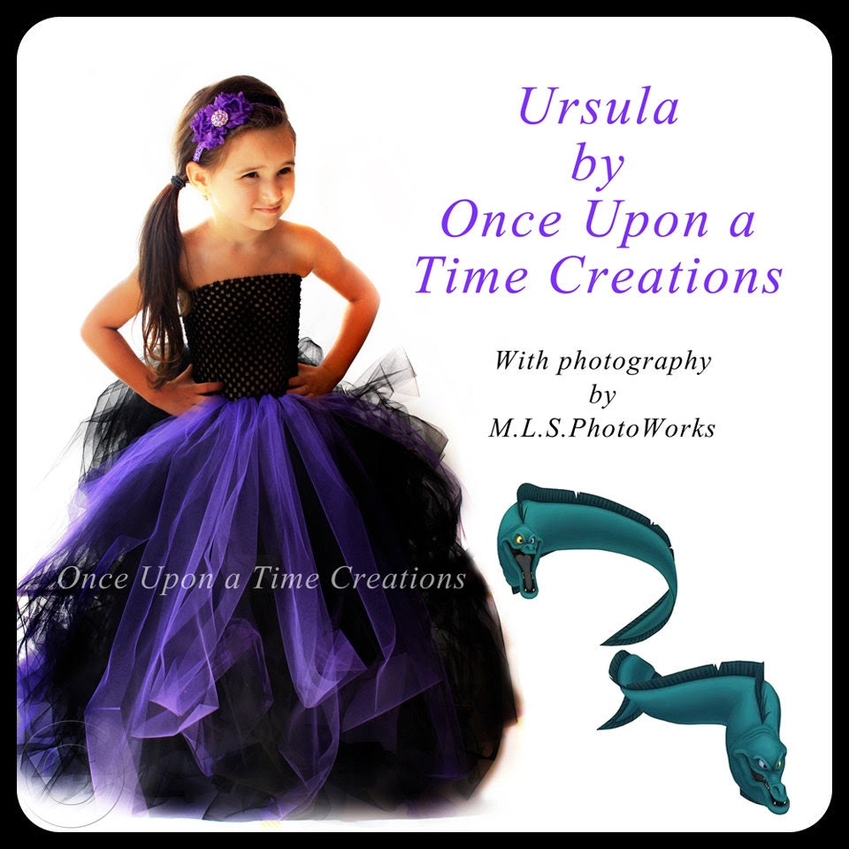 Ready To Ship - Sample Sale - Disney The Little Mermaid Sea Witch Ursula Inspired Villian Dress - Halloween Costume - 12M 2T 3T 4T 5T
