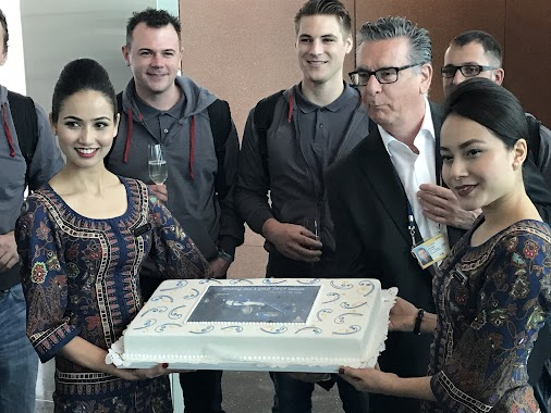 Yet another surprise - and more cake! - at the gate! #TheSkyIsTheLimit  What a lovely welcome by Singapore...