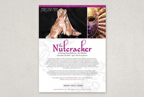 Elegant Ballet Flyer Template, ballet, ballerina, dance, dancing, dancer, performance, physical activity, healthy lifestyle, studio, jump, motion, movement, leotard, rehearsal, practice, classes, instructors, schedule, company, stage, large type, contemporary, fitness, health, black, rose, gray, grey, pink, flyer, post card, mail, mailing, nutcracker, holiday, christmas, beautiful, elegant, whimisical, purple