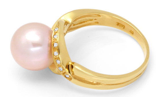 Originalfoto DIAMANT-RING 10mm ROSA SÜDSEEPERLE GELBGOLD LUXUS! NEU!