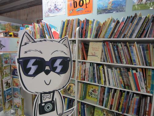 Argyle enjoys Storyteller Bookstore in Lafayette, CA