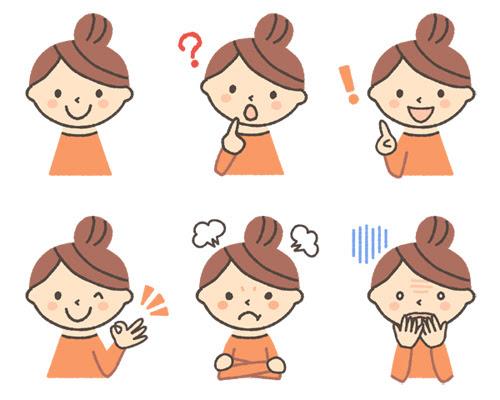 女の子の表情イラスト6種 可愛い無料イラスト人物素材 フリーラ