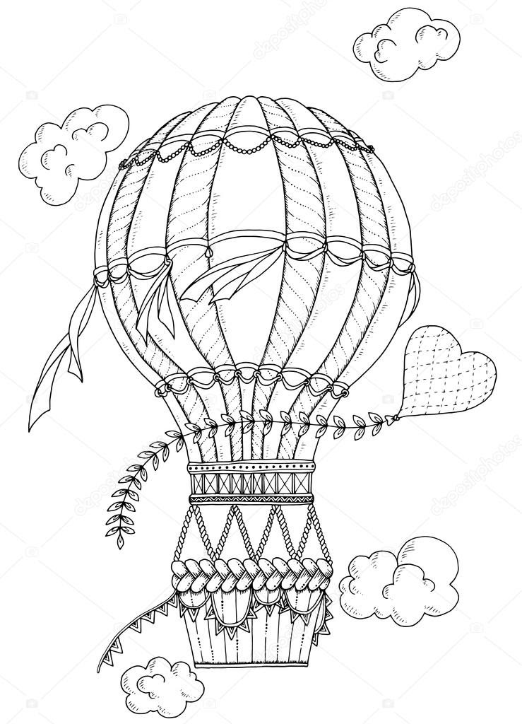 depositphotos_110074146 stock illustration black and white air balloon