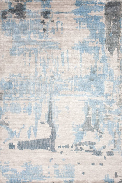 Abstract Printed Bamboo Silk Rug in Pearl Blue