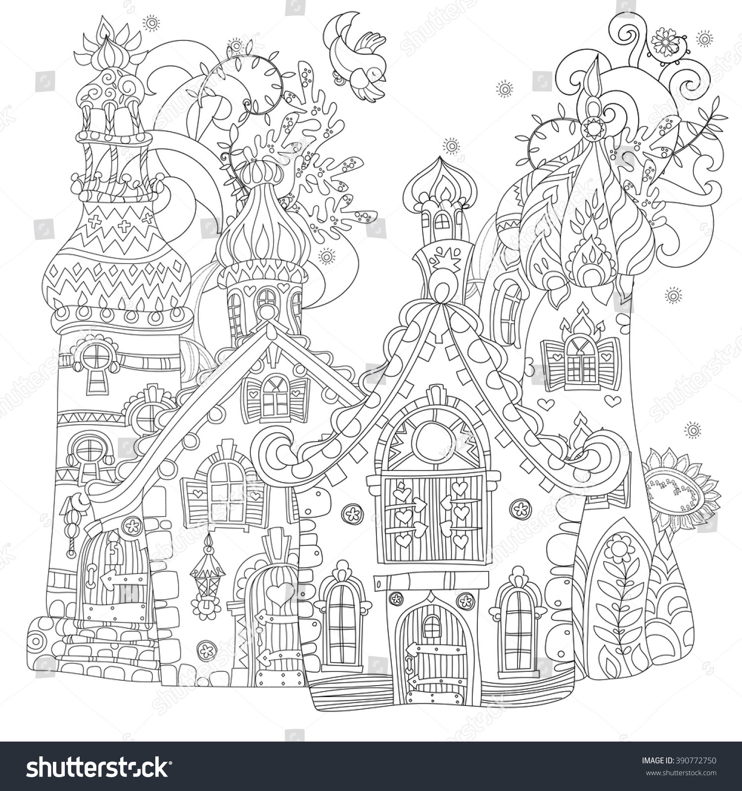 Vector Cute Fairy Tale Town Doodlevector Stock Vector ...