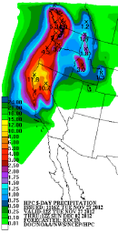 NWS precipitation forecast (inches) showing 5-day total precipitation amounts exceeding 10 inches in northern California from Tuesday 27 November to Sun 2 December 2012