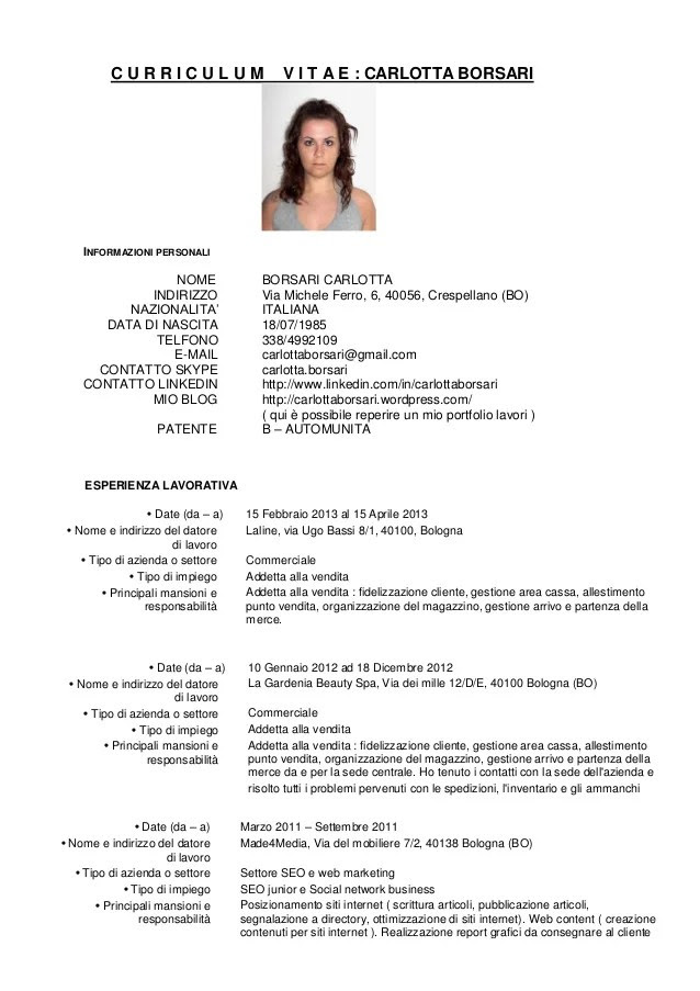 Curriculum Vitae Download Con Foto Free Downloadable