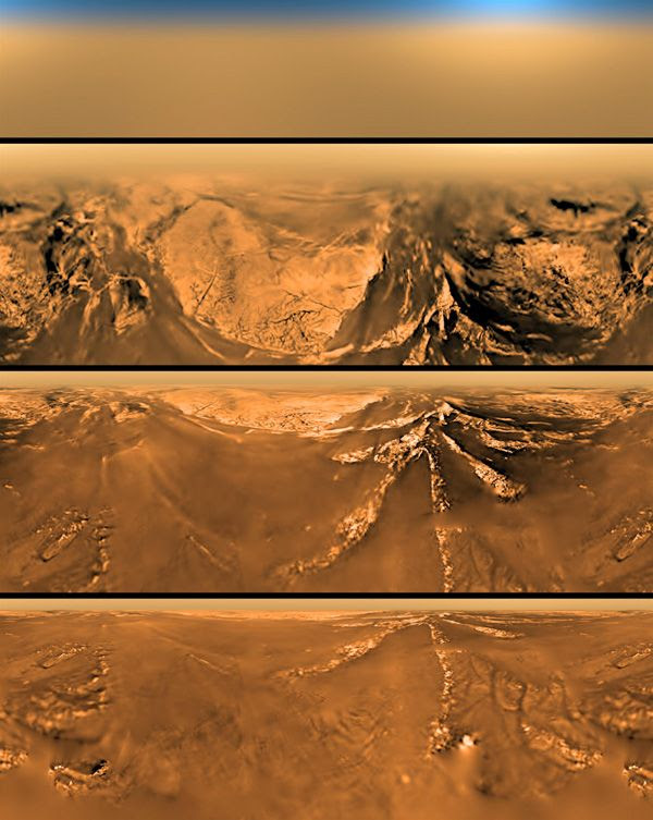 Images taken by the European Space Agency's Huygens probe as it was about to touch down on the surface of Titan, one of Saturn's moons, on January 14, 2005.