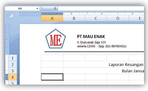 Gambar: contoh hasil cara menambahkan logo dokumen di microsoft excel