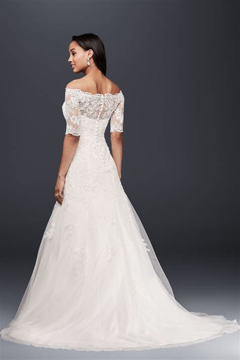 Jewel Off the Shoulder 3/4 Sleeve Wedding Dress Style