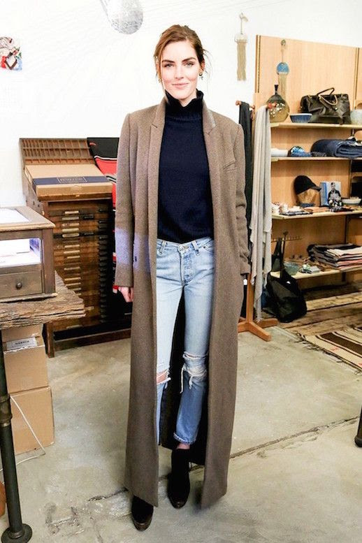 Le Fashion Blog Two Ways Maxi Coat Khaki Black Turtleneck Light Distressed Denim Cropped Ripped Jeans Platform Booties Model Hilary Rhoda Style Via Who What Wear